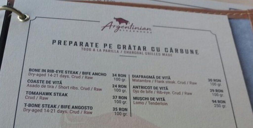 argentinian steakhouse timisoara menu