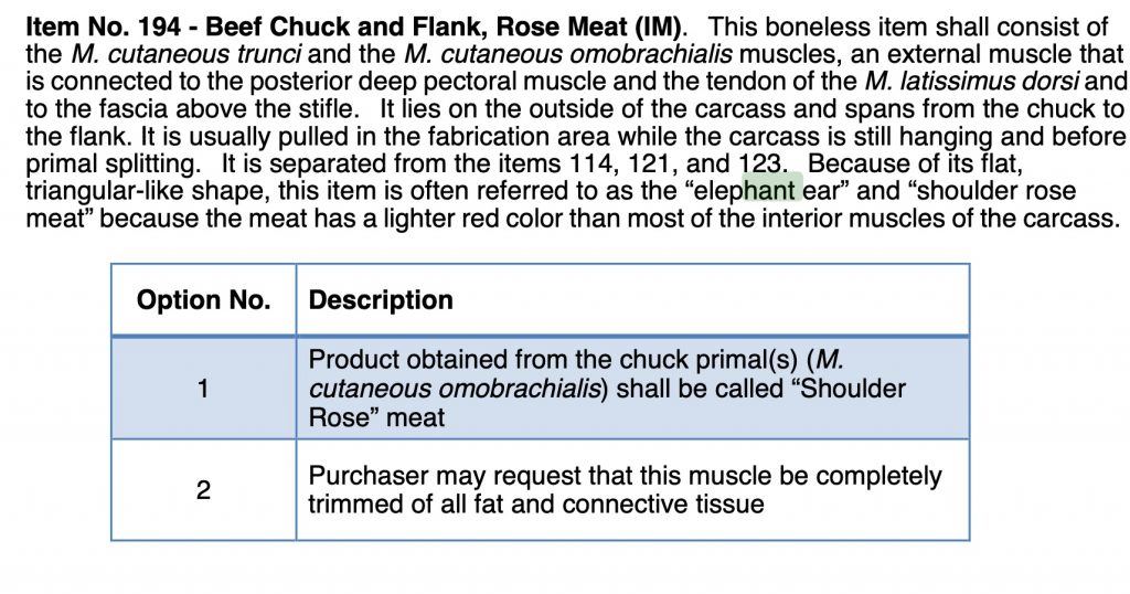 usda definition of matambre fly shaker beef rose meat elephant ear